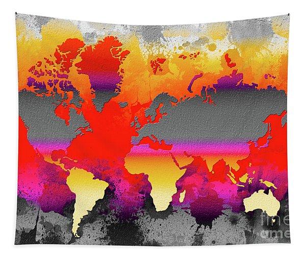 Orange Glow World Map Tapestry