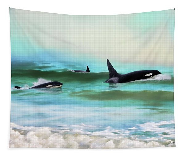 Our Family - Orca Whale Art Tapestry