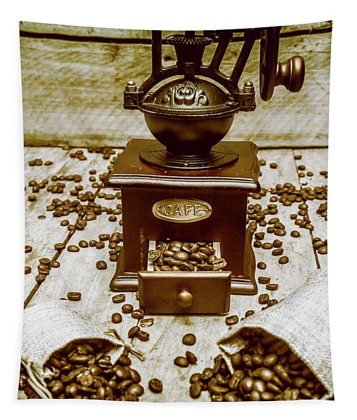 Pair Coffee Bean Bags Spilled In Front Of Grinder Tapestry