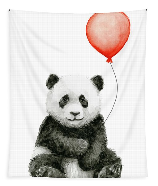 Panda Baby And Red Balloon Nursery Animals Decor Tapestry