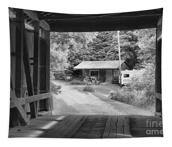 Parke County Homestead Black And White Tapestry
