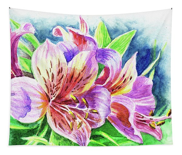 Parrot Peruvian Lilies Tapestry