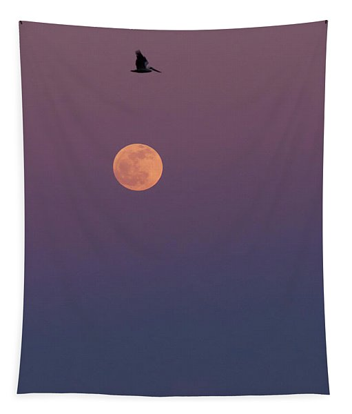 Pelican Over The Moon Tapestry