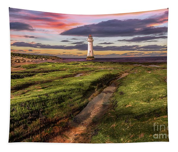 Perch Rock Lighthouse Sunset Tapestry