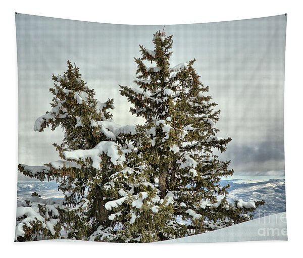 Pine Trees In The Clouds Tapestry