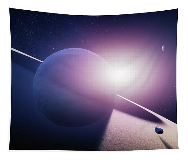 Planet Saturn Sunrise Tapestry