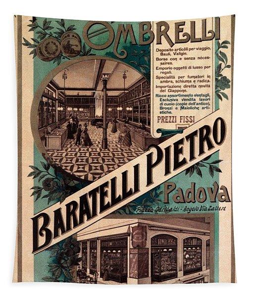 Premiata Fabbrica Ombrelli - Baratelli Pietro - Vintage Advertising Poster Tapestry
