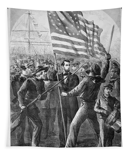 President Lincoln Holding The American Flag Tapestry