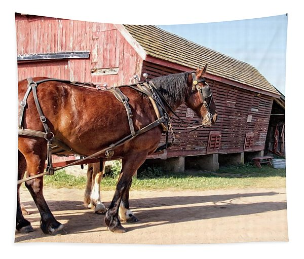 Ready At The Barn Tapestry