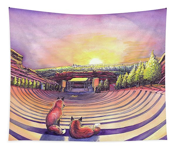 Foxes At Red Rocks Sunrise Tapestry