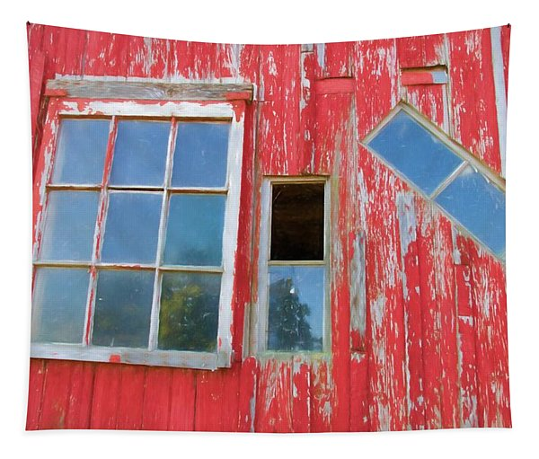 Red Wood And Windows Tapestry