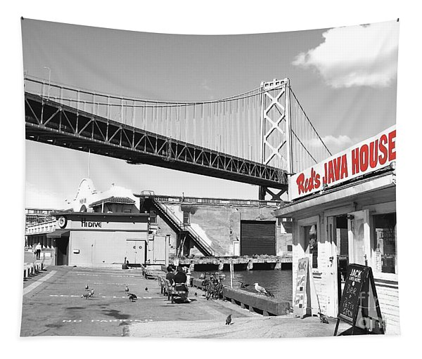 Reds Java House And The Bay Bridge In San Francisco Embarcadero . Black And White And Red Tapestry