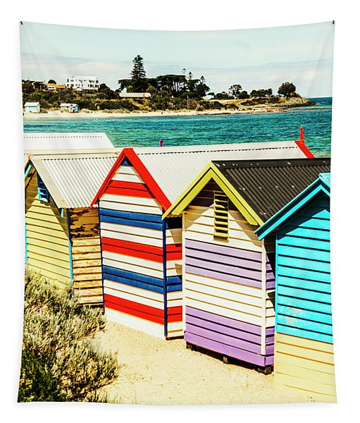 Retro Beach Boxes Tapestry