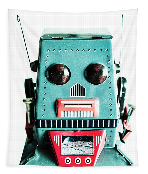 Retro Eighties Blue Robot Tapestry