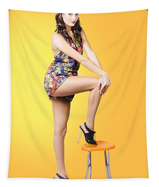 Retro Fashion Image. Woman Posing As A Pin-up Girl Tapestry