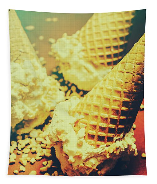 Retro Ice Cream Artwork Tapestry