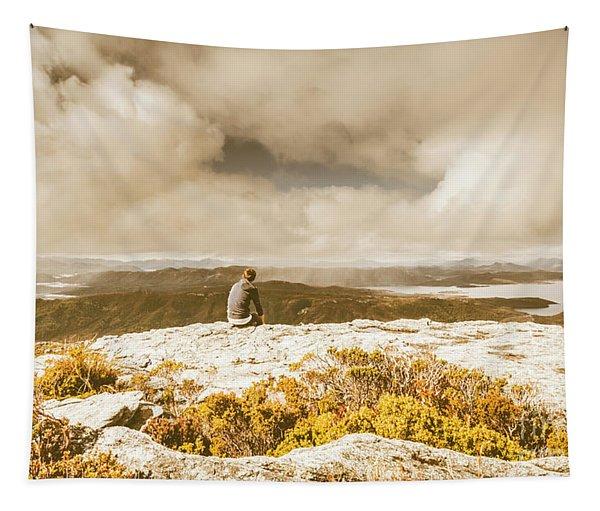 Retro Mountaintop Views Tapestry