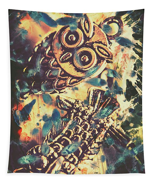 Retro Pop Art Owls Under Floating Feathers Tapestry
