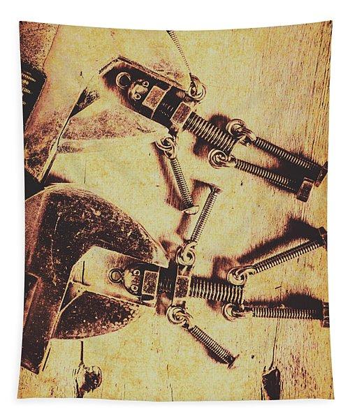 Retro Robot Revival Tapestry