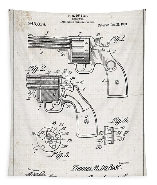 Revolver Patent From 1909 Tapestry