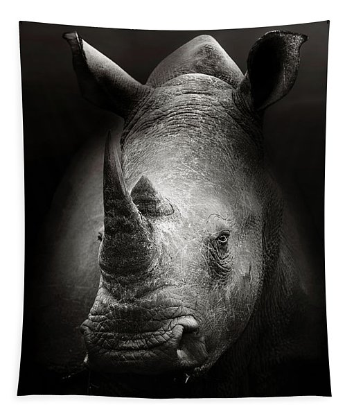 Rhinoceros Portrait Tapestry