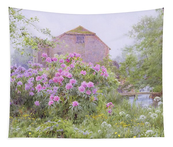 Rhododendrons By A Watermill Tapestry