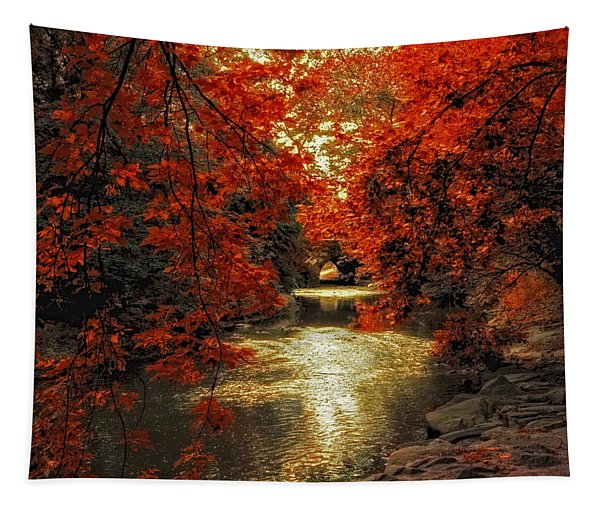 Riverbank Red Tapestry