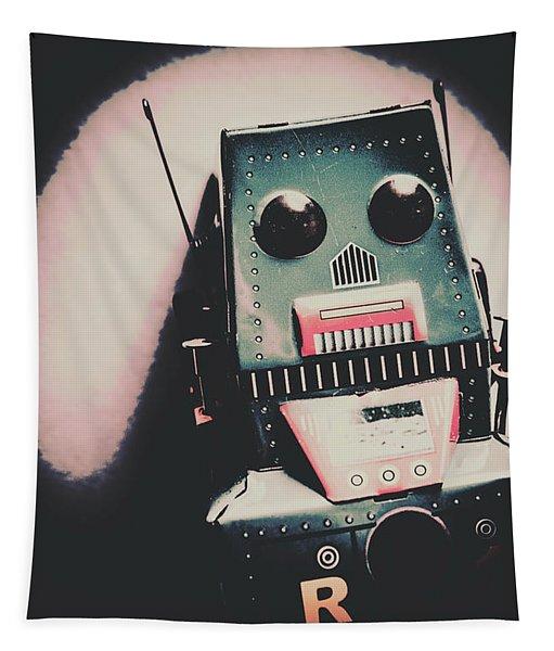 Robotic Mech Under Vintage Spotlight Tapestry
