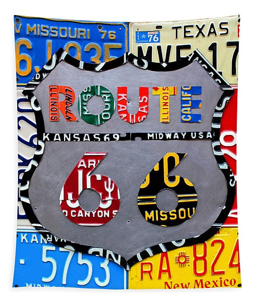 Route 66 Highway Road Sign License Plate Art Tapestry