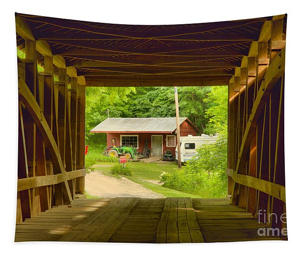 Rural Indiana Through A Covered Bridge Tapestry