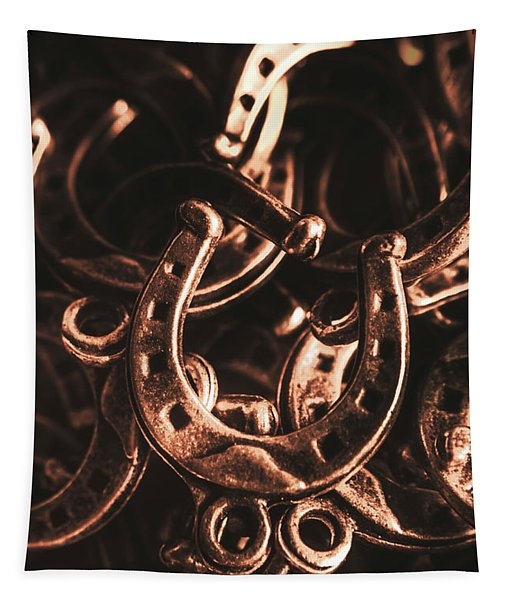 Rustic Horse Shoes Tapestry