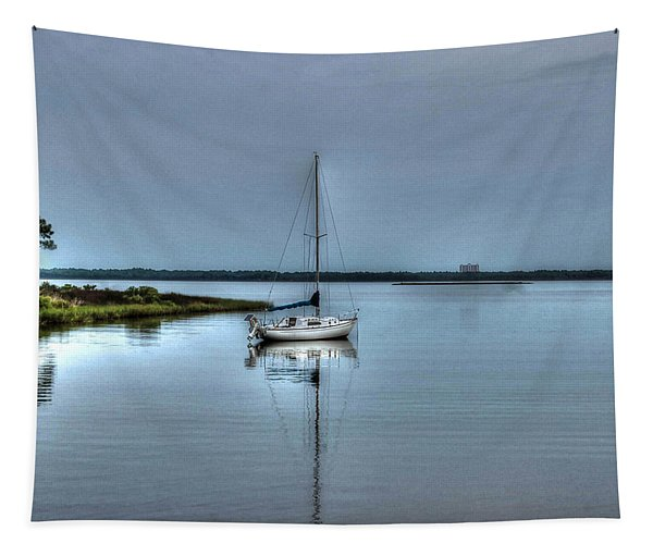 Sailboat Off Plash Tapestry