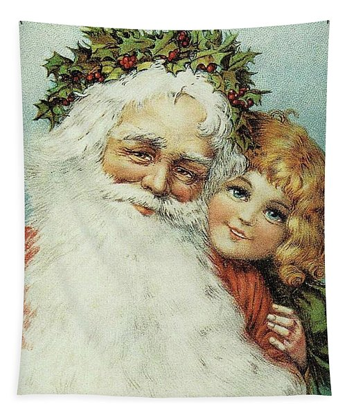 Santa And His Little Admirer Tapestry