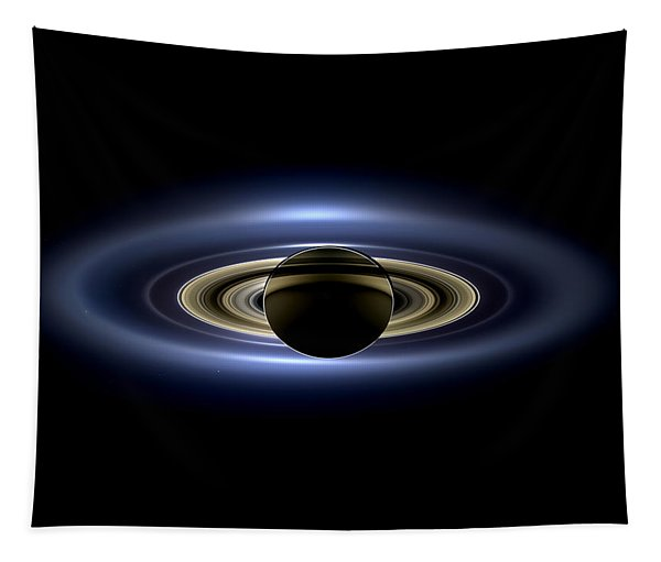 Saturn Mosaic With Earth 4x3 Tapestry