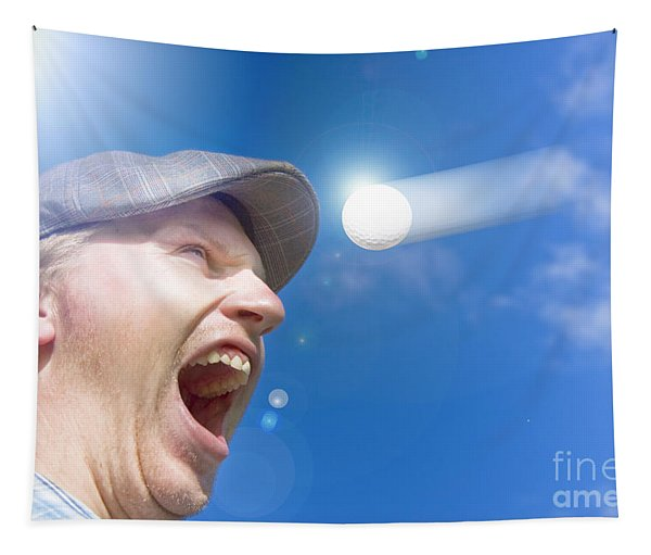 Screaming Golfer Tapestry