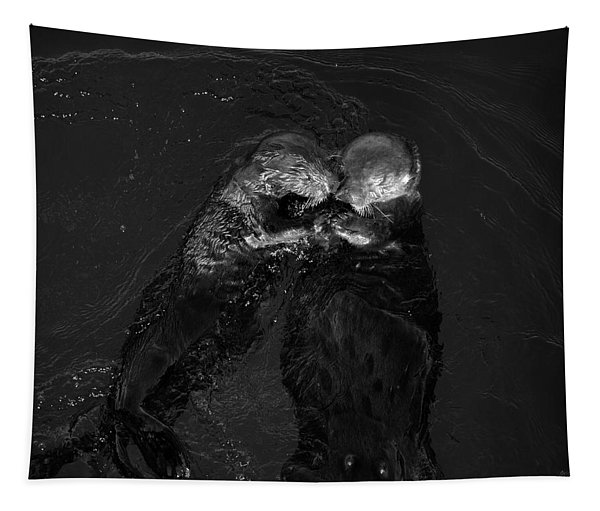Sea Otters II Bw Tapestry