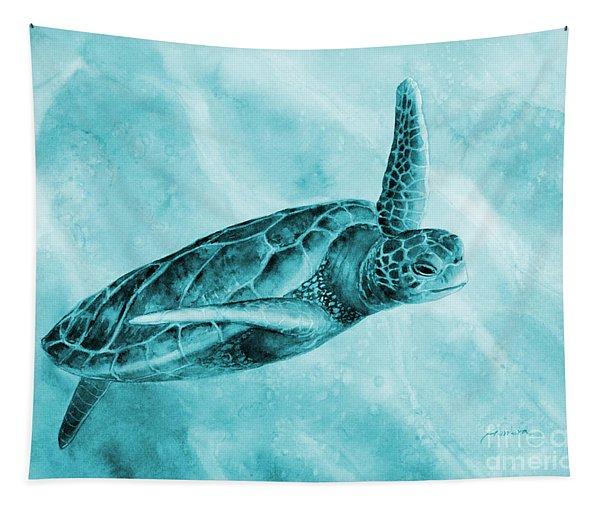 Sea Turtle 2 On Blue Tapestry