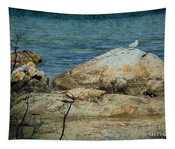 Seagull On A Rock Tapestry