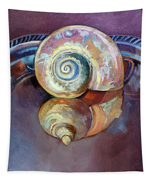 Seashell Served Up On A Silver Platter Tapestry