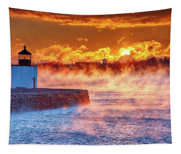 Seasmoke At Salem Lighthouse Tapestry