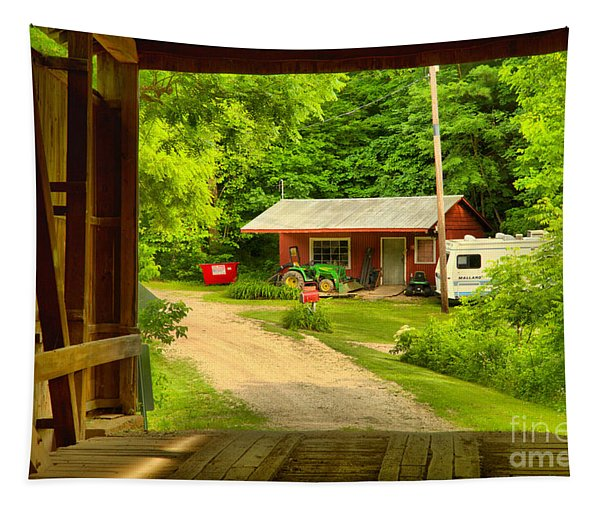 Seen Through The Wilkins Mill Covered Bridge Tapestry