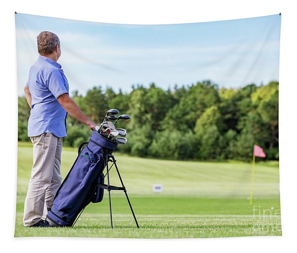 Senior Man Standing Proudly On A Golf Club. Tapestry