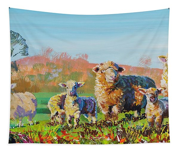 Sheep And Lambs In Devon Landscape Bright Colors Tapestry