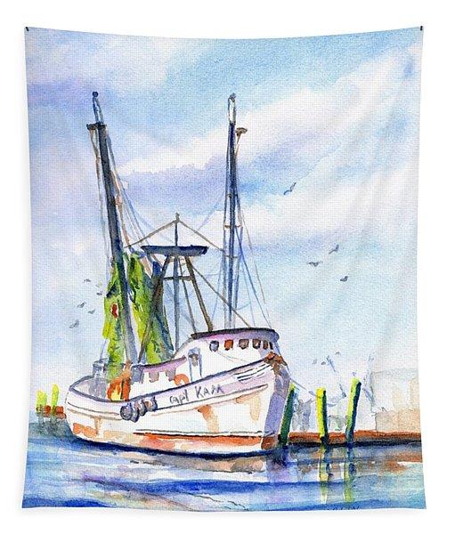 Shrimp Boat Gulf Fishing Tapestry