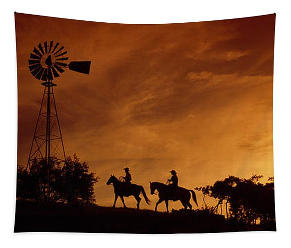 Silhouette Of Two Horse Riders Tapestry