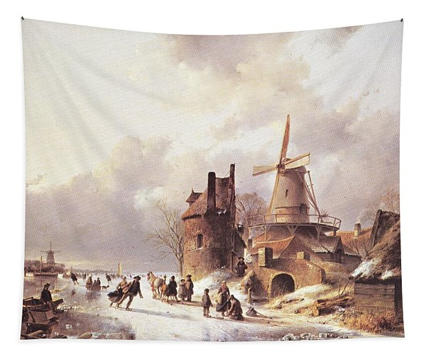 Skaters On A Frozen River Tapestry