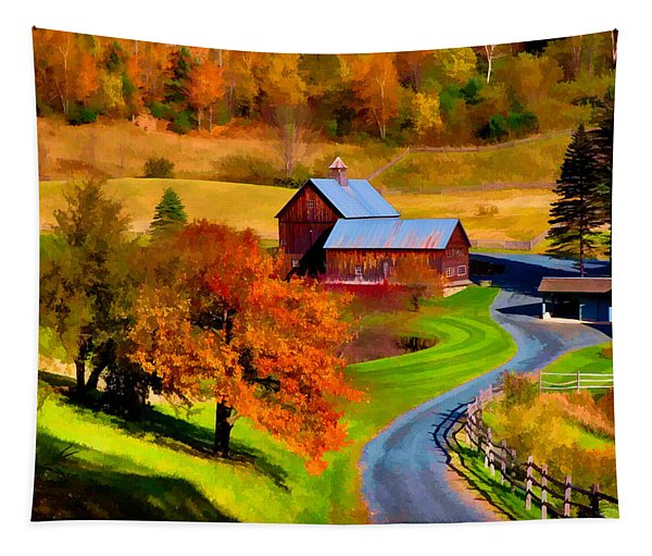Digital Painting Of Sleepy Hollow Farm Tapestry
