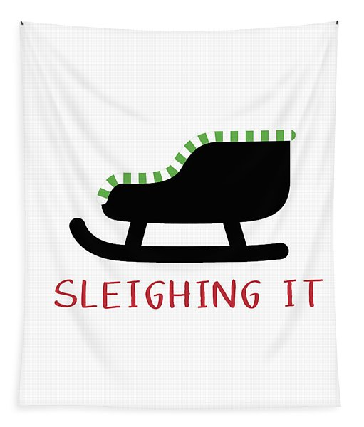 Sleighing It- Art By Linda Woods Tapestry