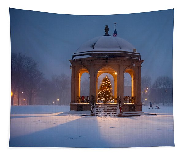 Snowy Night On The Salem Common Tapestry