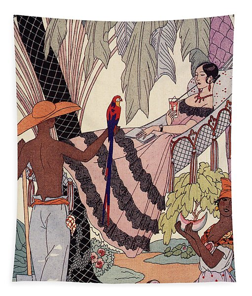 Spanish Lady In Hammock With Parrot Tapestry